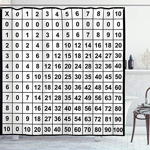"""Ambesonne Mathematics Room Shower Curtain, Multiplication Table in Black and White Learning, Cloth Fabric Bathroom Decor Set with Hooks, 70"""" Long, White Black"""