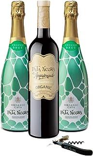 Pata Negra - Lote de 2 Botellas de Cava y 1 Botella de Vino Tinto con Sacacorchos, Pack de 3 botellas x 75 cl