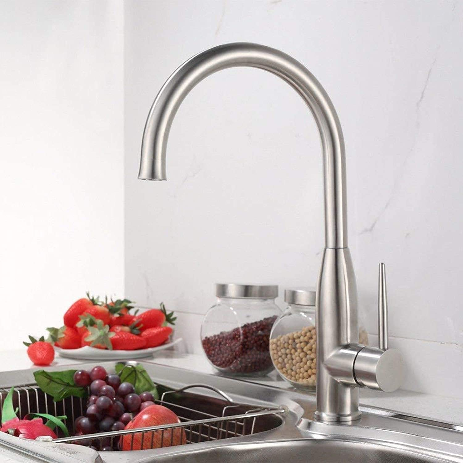 360° redating Faucet Retro Faucet Kitchen Faucet Sink Mixer Taps Stainless Steel Sink Faucet Basin Mixer Tap Hot and Cold Water Sink Faucet with redating Spout Basin Mixer Tap Brushed Brass