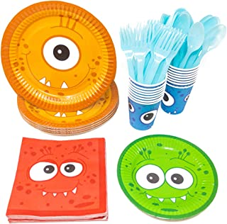 Blue Orchards Monster Party Standard Party Packs (113+ Pieces for 16 Guests!), Monster Party Tableware, Halloween Party Supplies