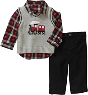 Infant Boys 3P Holiday Outfit Gray Train Sweater Vest Plaid Shirt & Pants