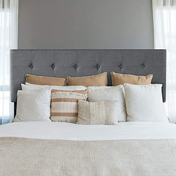 Giantex Modern Upholstered Headboard Tufted Button Faux Linen Headboards 3 Level Adjustable Height Heavy Duty Metal Queen Full Size Suitable Grey