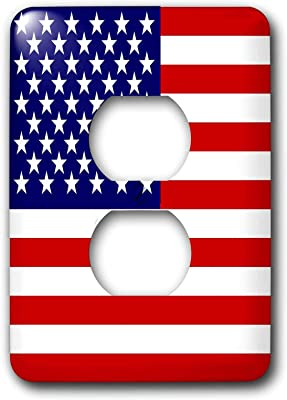 Duplex Receptacle Outlet Wallplate 1 Gang Outlet Covers American Flag Patriotic Usa Stars And Stripes Red White And Blue 4th July America Patriot Classic Beadboard Decorator Unbreakable Faceplate