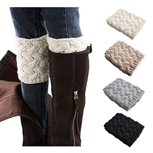 e345457e3e319 Xugq66 4 Pairs Women Winter Crochet Knitted Short Boot Cuffs Socks Short  Leg Warmers