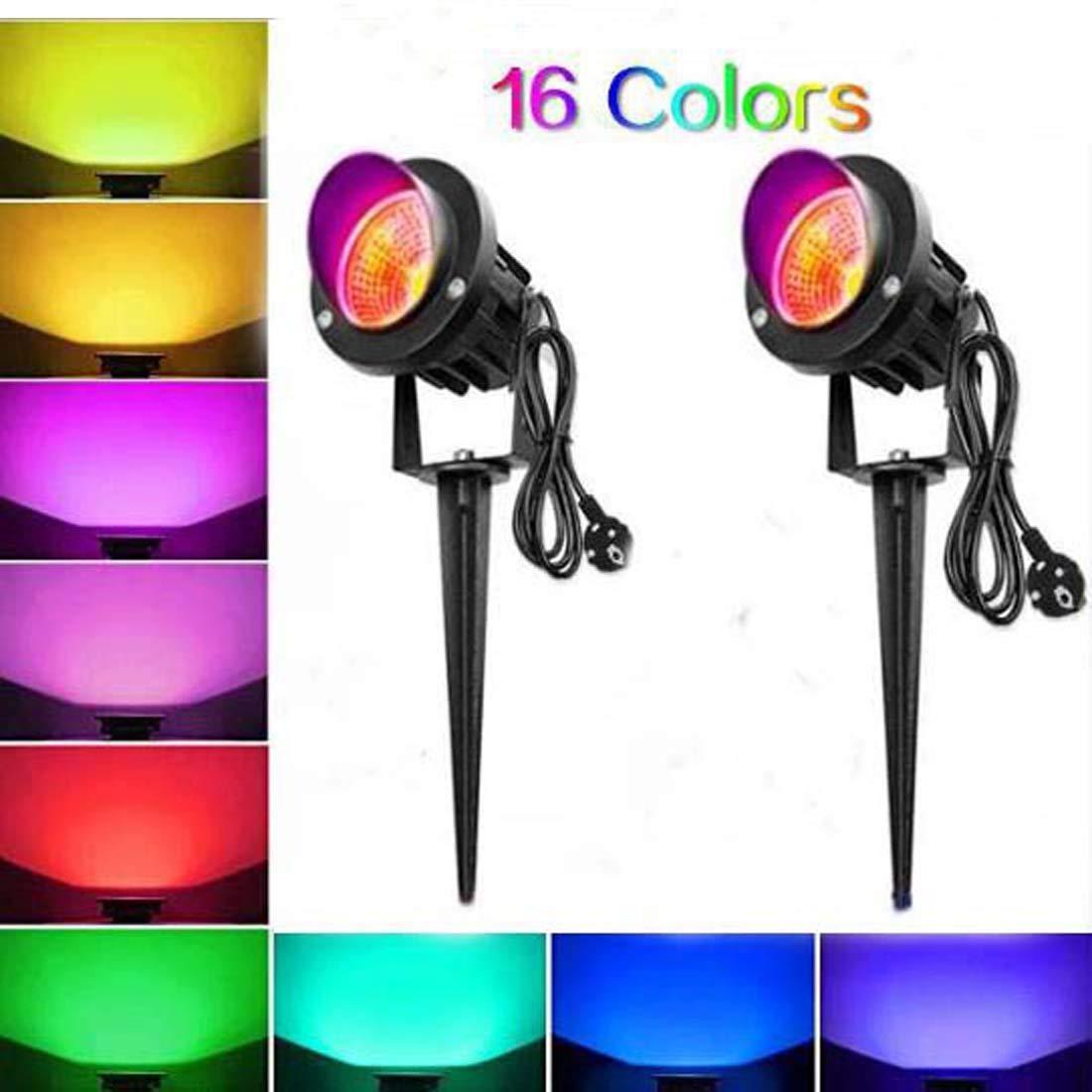 Morwealth Juego de 2 focos LED de 10 W RGB para jardín con enchufe,Proyector Exterior Jardin, iluminación LED para jardín, lámpara de jardín, foco de jardín, foco de césped: Amazon.es: Iluminación