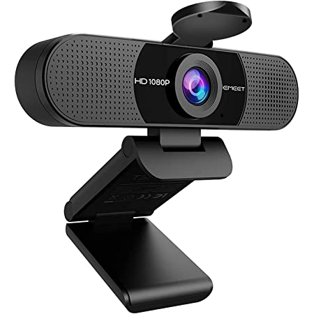 1080P Webcam with Microphone, eMeet C960 Web Camera, 2 Mics Streaming Webcam with Privacy Cover, 90°View Computer Camera, Plug&Play USB Webcam for Calls/Conference, Zoom/Skype/YouTube, Laptop/Desktop