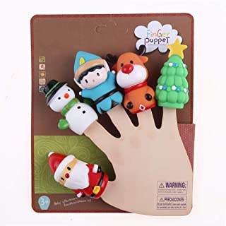 CCINEE 5 Pieces Christmas Finger Puppets Toys for Kids Elk Santa Claus Snowman Christmas Tree Character Party Favors Goodie Bag Fillers