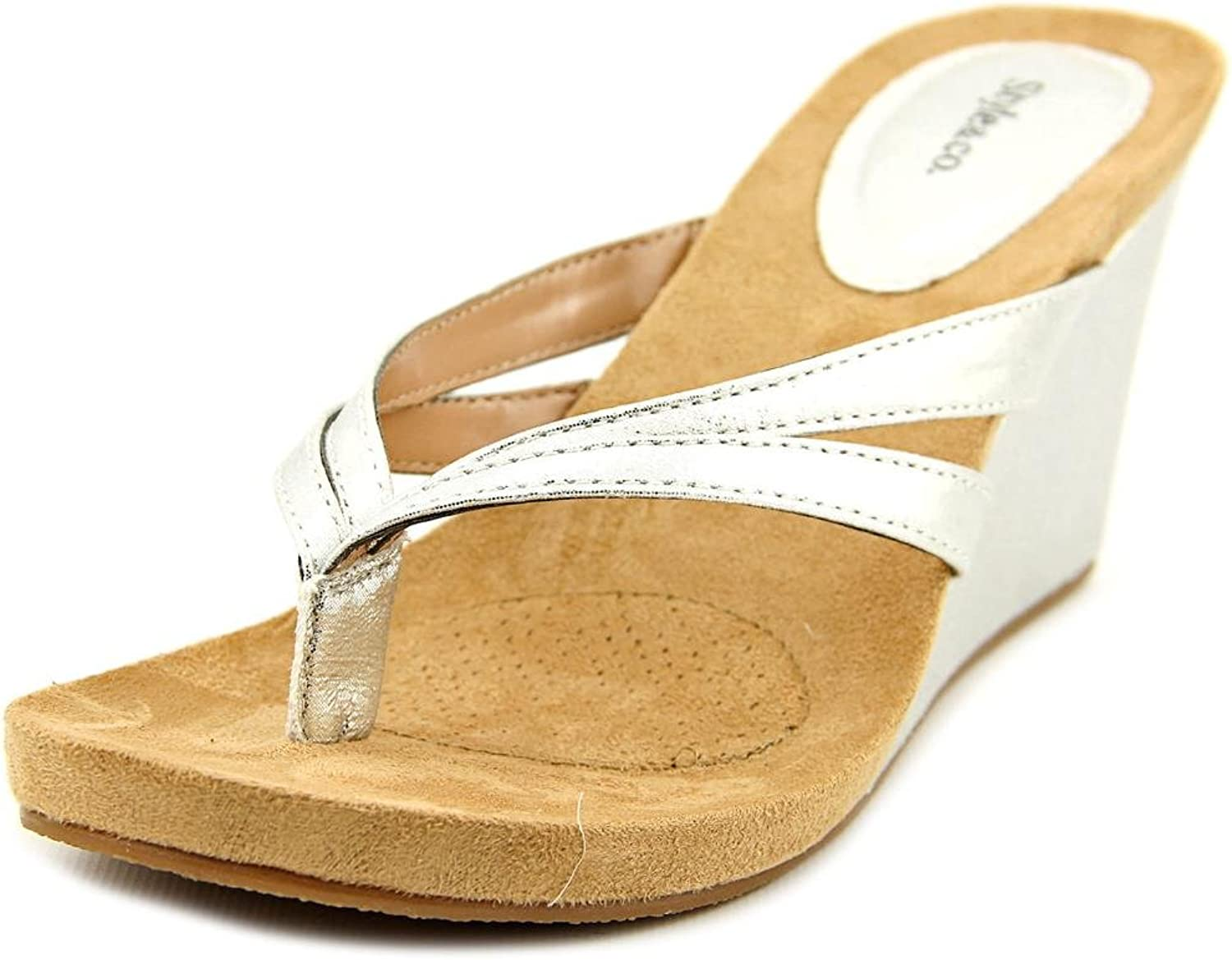 Style & Co. Womens Cassiee Split Toe Casual Platform Sandals, Silver, Size 9.0 US