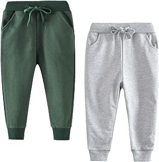 GLEAMING GRAIN Little Boys Jogger Pants Toddler Boys' Drawstring Elastic Waist Cotton Casual Sweatpants 2 PCS Set