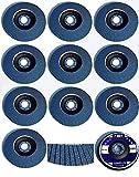 10 INOX Fächerscheiben Ø125 mm - Korn 120 aus Edelstahl in blau Schleifscheiben - Schleifmoppteller - Schleifen