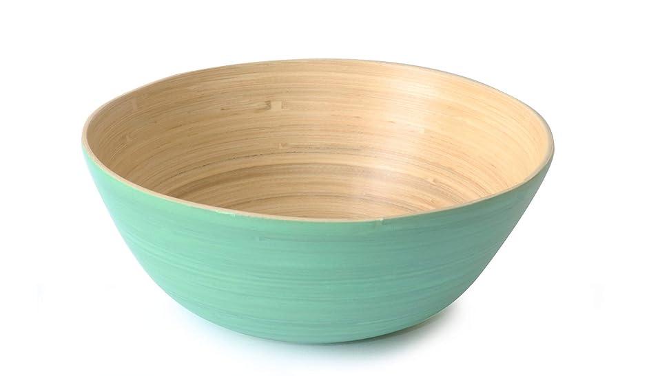 Avocango Beautiful Round Large Bamboo Serving Salad Fruit Bowl (Turquoise)