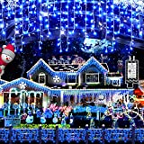 Christmas Decorations Lights Outdoor, 400 LED 32.8 FT 8 Modes 75 Drops Fairy String Curtain Lights for Christmas Decor Eaves Window Party Yard Garden Indoor (Blue)