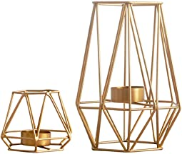 Nuptio 2 Pcs Metal Hexagon Shaped Geometric Design Tea Light Votive Candle Holders, Iron Hollow Tealight Candle Holders for Vintage Wedding Home Decoration, Gold (S + L)
