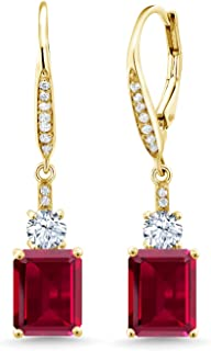 5.60 Ct Emerald Cut Red Created Ruby 18K Yellow Gold Plated Silver Earrings