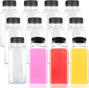 Plastic Juice Bottles, 12 Packs 8oz Plastic Bottles with Caps Disposable Beverage Containers Clear Plastic Smoothie Bottles for Homemade Juices, Milk, Beverages