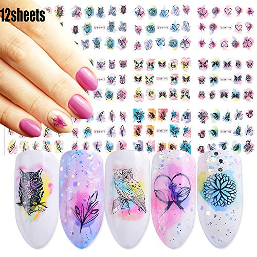 Macute Nail Water Stickers for Women Watercolor Nail Decals 12 Sheets Nail Art Stickers Owl Butterfly Leaf Feather Water Transfer Papers for Female Fingernails & Toenails Decoration Nail Accessories