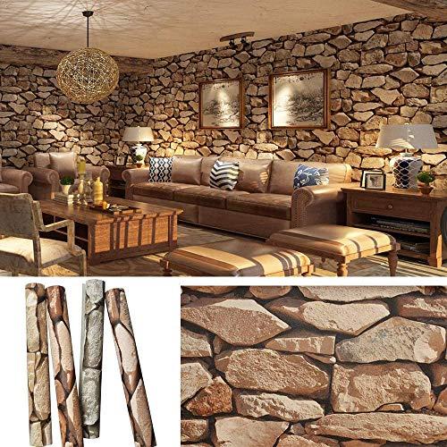 Papel pintado efecto piedra, 0,53 x 10 m, efecto 3D, 5,3 metros cuadrados, moderno, decoración de pared para casa, para paredes, papel de efecto piedra, marrón
