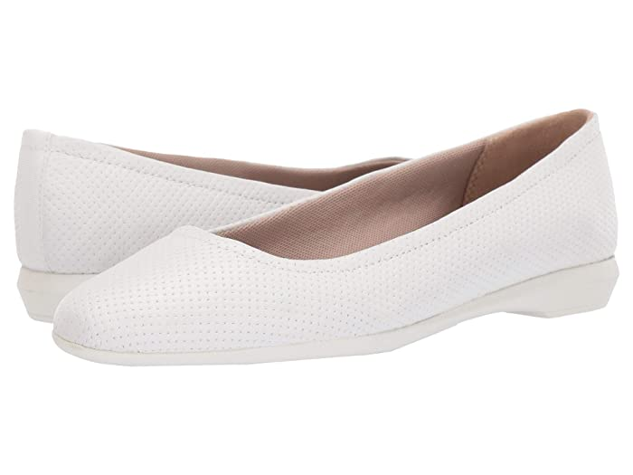 Retro Vintage Flats and Low Heel Shoes Naturalizer Alya White Perf Leather Womens Slip on  Shoes $40.05 AT vintagedancer.com