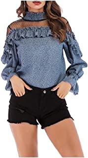 Sebaby Womens Fishnet See-through Sexy Flounced Bell Sleeve Tops Blouses