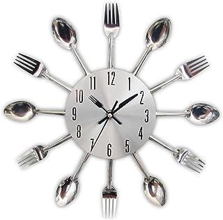 Horloge de cuisine effet miroir avec cuillère, fourchette, autocollant amovible en 3D pour la décoration de la maison 32*3...