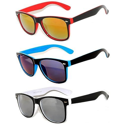 206528dbabdb Retro Vintage Two -Tone Sunglasses Mirror and Smoke Lens Yellow, Blue, Pink  OWL