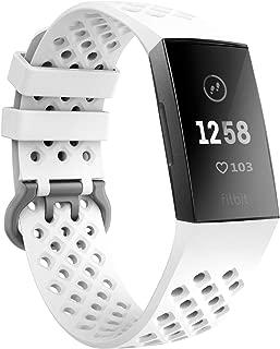 TiMOVO Fitbit Charge 3 バンド 通気穴式 腕時計交換ベルト 長さ調節可能範囲:145mm-210mm 柔らかいシリコン 無毒無臭 通気性 防水 取り付け易い 耐用性 工具不要 多色選択 スポーツ White