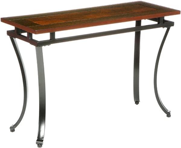 Modesto Sofa Console Table Checkerboard Two Tone Wood Top Black Metal Frame