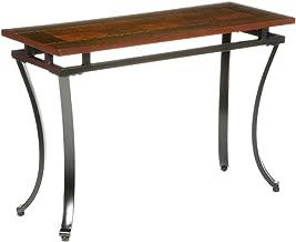 Modesto Sofa Console Table - Checkerboard Two Tone Wood Top - Black Metal Frame