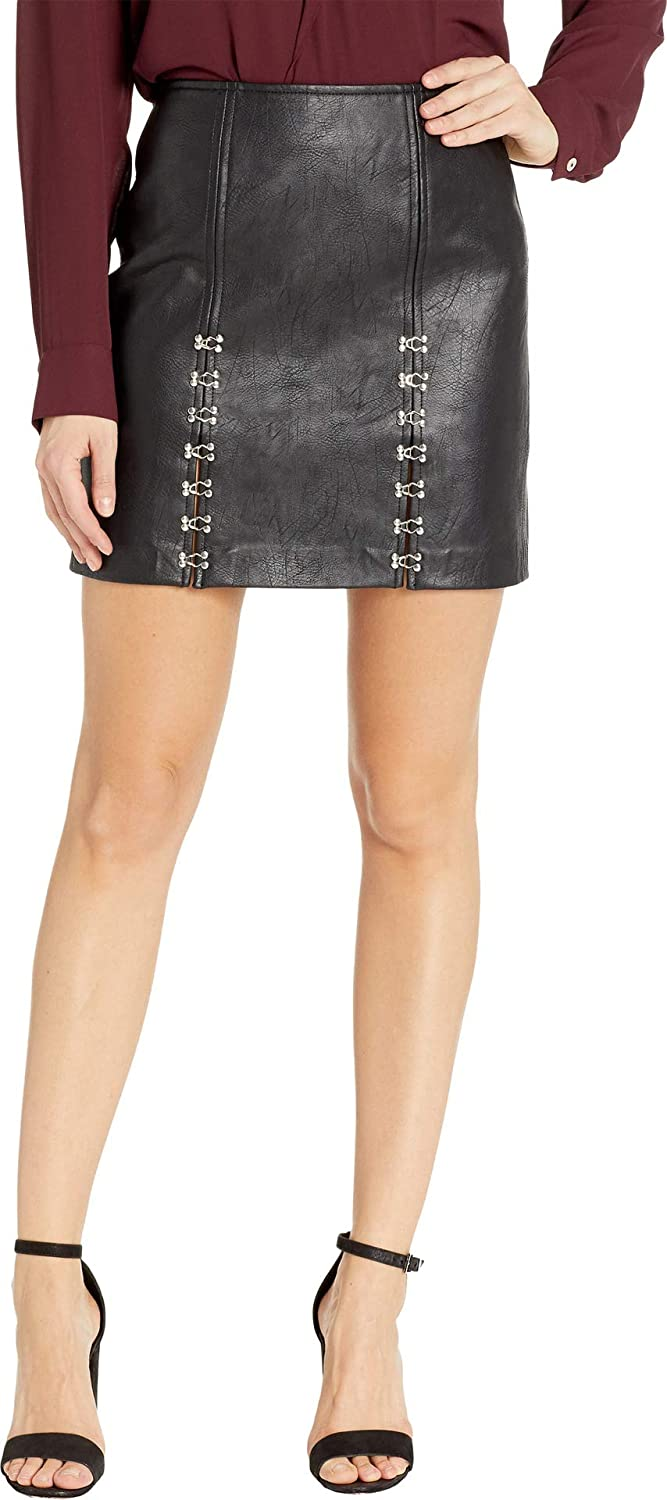 [BLANKNYC] Blank NYC Womens Vegan Leather Mini Skirt with Hook and Eye Detail in Limitless
