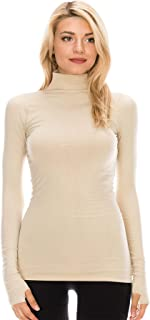 Kurve Womens Long Sleeve Mock Neck Warm T-Shirt, UV Protective Fabric UPF 50+ (Made with Love in The USA)