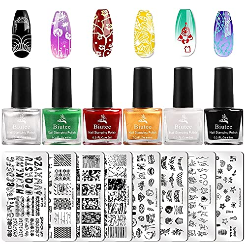 Biutee esmaltes stamping nail art 6 colores esmalte para estampar uñas 8 piezas placas estampacion uñas uñas placas estampar en las uñas