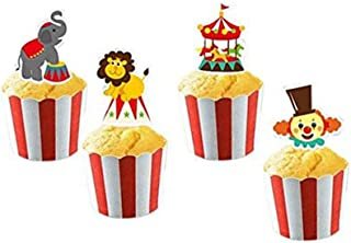 Circus Animal Cake Cupcake Toppers and Wrappers for Party Carnival Decorations 24 Cake Toppers and 24 Wrappers By PROPARTY