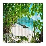 AdaCrazy Sunny Beach Patrón de Fondo escénico Conjunto de Cortina de Ducha Impresión 3D Baño de Tela de poliéster Revestido Impermeable con 12 Ganchos 71 Pulgadas 180 * 180 cm