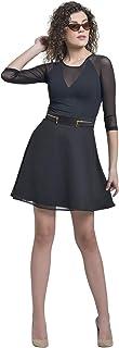 Martini Women Golden Zip Skater Mini Skirt for Girls (Black, Size : 30)