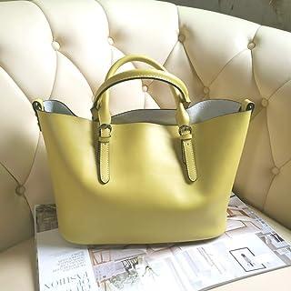 Leather Handbags/Ladies Handbag Large Bag/Messenger Large Bag/Leisure Wild Picture Package. jszzz (Color : Yellow)