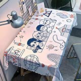 Mantel Antimanchas Rectangular Protector de Mesa Lavable Impermeable Manteles 140X180Cm Mantel Rectangular Adecuado para La decoración de La Cocina - Blanca, Linda Niña