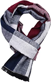 ba knife Mens Fashion Scarf Cashmere Feel Plaid Stripe Ultra Soft Winter Scarves