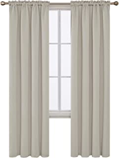 Deconovo Light Beige Blackout Curtains Rod Pocket Curtain Panels Thermal Insulated..