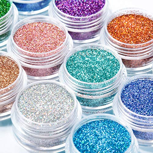 Warmfits Holographic Nail Glitter 12 Colors Holo Laser Superfine Cosmetic festival Powder Nail Pigment Holo Nail Art Powder Craft Sequins Dust for Face Body Eye Festvial Hair