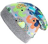 Wollhuhn Beanie-Mütze mit Elefanten grau/bunt (aus Öko-Stoffen) 20170330, Größe: XXS: KU 36/40 (bis ca 6 Mon.)