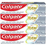 Colgate Total Toothpaste with Stannous Fluoride and Zinc, Multi Benefit Toothpaste with Sensitivity Relief and Cavity Protection, Deep Clean - 4.8 ounce (4 Pack)