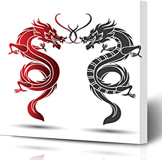 Ahawoso Canvas Prints Wall Art Printing 12x16 Eastern China Traditional Chinese Dragon Animals Wildlife Silhouette Sketch Vintage Design Line Painting Artwork Home Living Room Office Bedroom Dorm