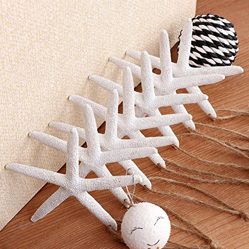Aytai 50pcs White Finger Starfish with Hemp Rope, 4-Inch Artificial Resin Pencil Starfish for Christmas Tree Hanging Ornaments DIY Craft Beach Wedding Christmas Decorations