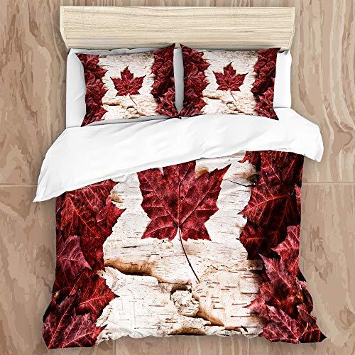 NUXIANY Bedding Juego de Funda de Edredón,Bandera de Canadá con diseño de Color de transición,Microfibra Funda de Nórdico y Fundas de Almohada - (Soltero 140 x 200cm)