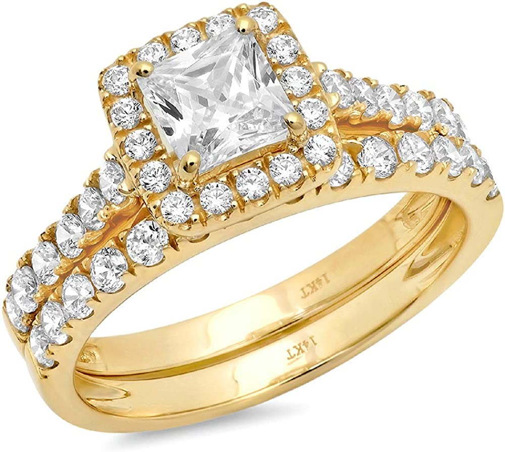 Directly managed store Clara Super sale period limited Pucci 1.8 Ct Princess Cut Promise Pave Halo Wed Engagement