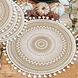 Ailsan Mandala Round Placemats for Table with Pompom Ball Farmhouse Jute Woven Placemat 15' Diameter Neutral Rustic Tablemats for Dining Wedding Kitchen Home Decoration Place Mat(White, 4)