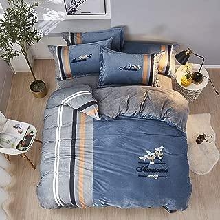 XM&LZ 4 Pcs Stripe Duvet Cover Set, Zippered Quilt Cover with 2 Pillow Sham Velvet Bedding Set Decoration Reversible Bed Comforter Set-b King(220240cm)