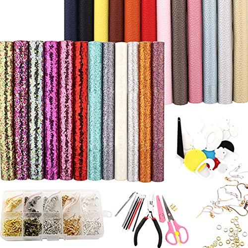 Sharplace 24 Pezzi in Pelle Orecchini Kit Decorazione Orecchini Fatti a Mano Trovando per Cucire Donne Ragazze - Imposta a