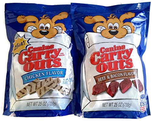 Canine Carry Outs Chicken Flavor and Beef & Bacon Flavor Combo Pack 25oz Bags (2 Bags 50oz Total)