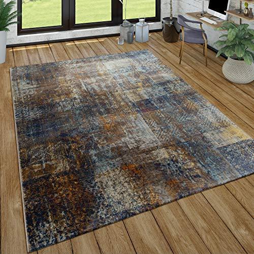 Paco Home Wohnzimmer-Teppich, Kurzflor Im Used Look, Modernes Design In Braun, Blau, Grau, Grösse:120x170 cm